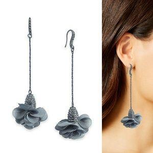 I.N.C. Fabric-Flower Drop Earrings